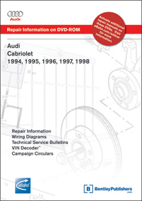 audi cabriolet 1994 1995 1996 1997 1998 repair manual on dvd rom rh bentleypublishers com 1999 Volkswagen Cabrio Convertible 1997 Volkswagen Cabrio Convertible Green
