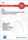 Audi<br />A4 1996-2001<br />A4 Avant 1998-2001<br />S4 2000-2002<br />S4 Avant 2001-2002  Repair Manual on DVD-ROM