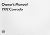 Volkswagen Corrado Owner&#039;s Manual: 1992