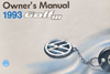 Volkswagen Golf Owner's Manual: 1993