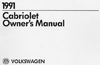 Volkswagen Cabriolet Owner's Manual: 1991