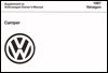 Volkswagen Weekender, Supplement to Vanagon Owner's Manual: 1987