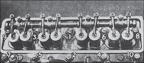 Cylinder Head nut tightening sequence, page 111